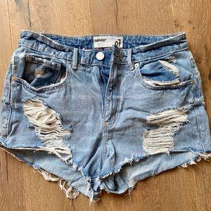 Garage high rise jean riped shorts